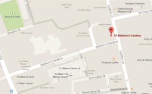 Baldwins Gardens from Google maps