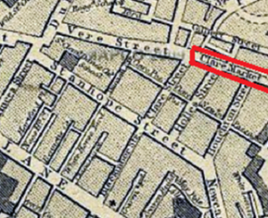 Clare Market historic map (from View from the Mirror website - http://blackcablondon.net/tag/clare-market/ )