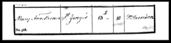 Mary Ann Farmer's burial record